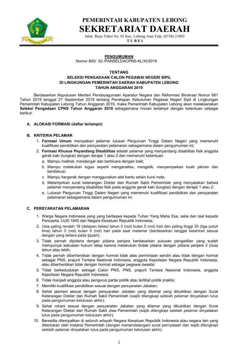 Seleksi Pengadaan Tes CPNSD di Lingkungan Pemerintah Kabupaten Lebong Tahun 2019