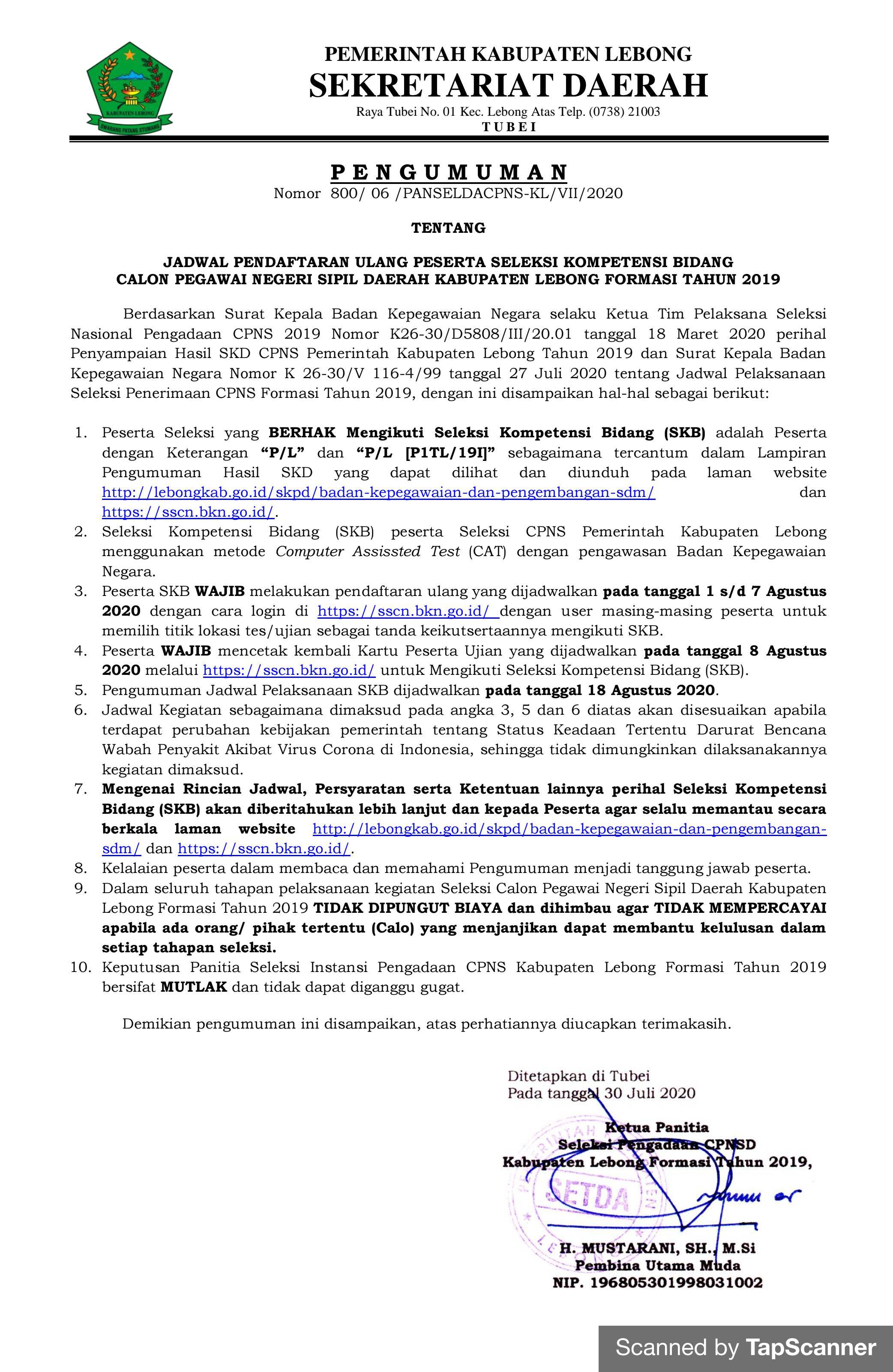 Jadwal Pendaftaran Ulang Peserta SKB CPNSD Kab. Lebong Formasi 2019