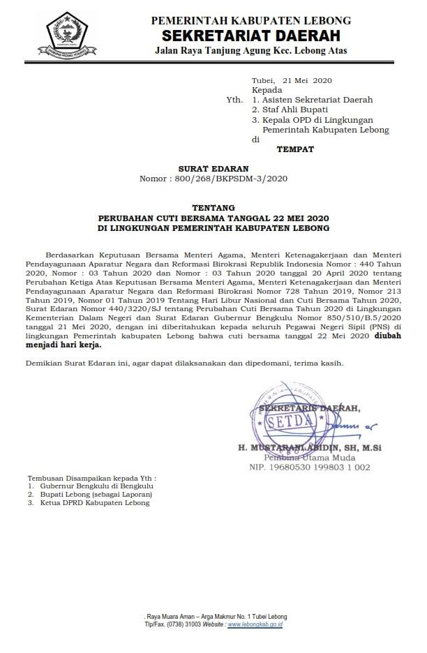 Perubahan Cuti Bersama Tanggal 22 Mei 2020 di Lingkungan Pemerintah Kabupaten Lebong