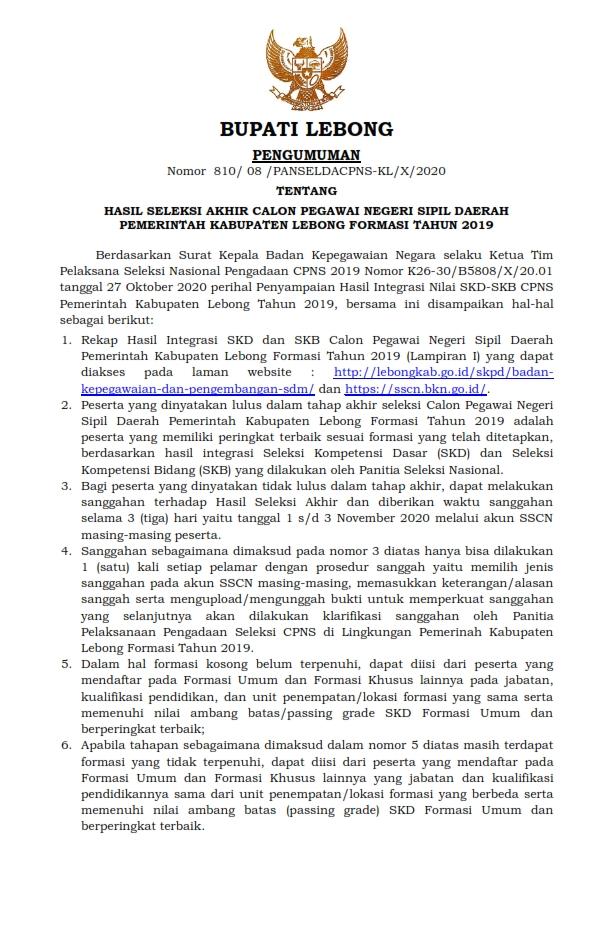 Pengumuman Hasil Seleksi Akhir CPNSD Pemkab Lebong Formasi Tahun 2019
