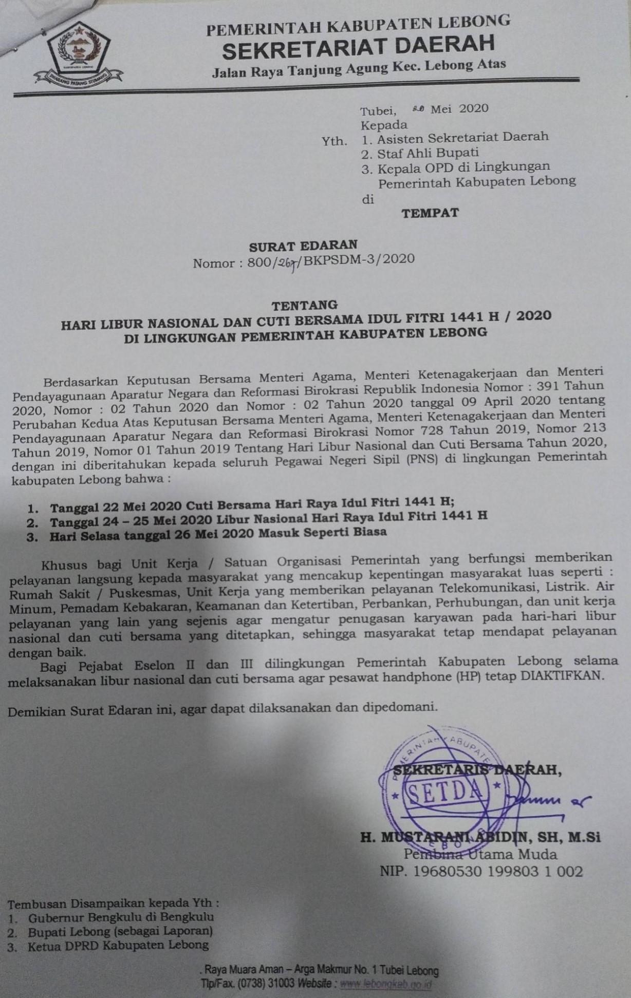 Hari Libur Nasional dan Cuti Bersama Idul Fitri 1441 H/2020 M di Lingkungan Pemerintah Kabupaten Leb